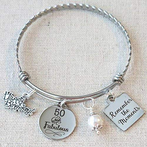 50th BIRTHDAY Gift Milestone Birthday Gifts For Her Best Friend Bracelet Remember The Moments Bangle 50 And Fabulous BFF