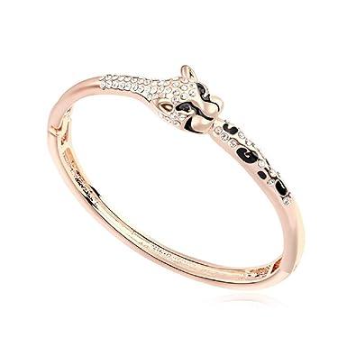 Bracelet tête de tigre 18 carats plaqué or rose avec cristaux de Swarovski