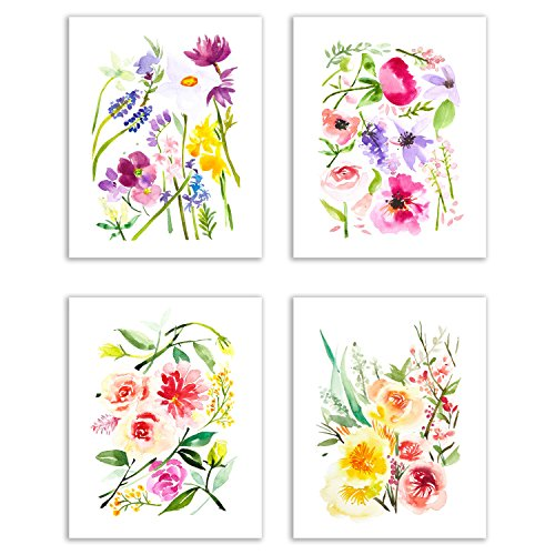 Floral Watercolor Pastel Fine Art Prints — Set of Four  Photos