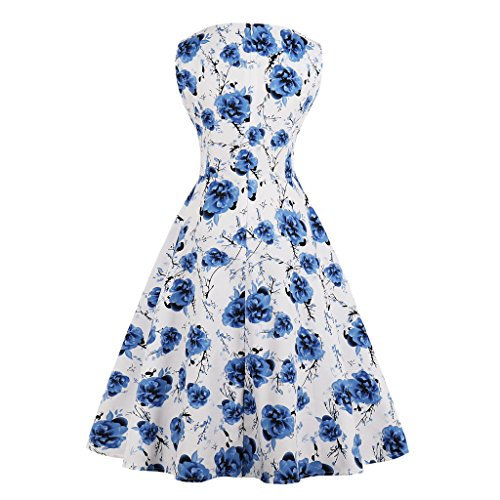 Noche Vestido para Sin mujer Blue Floral mangas Light Wellwits OBwqCT6