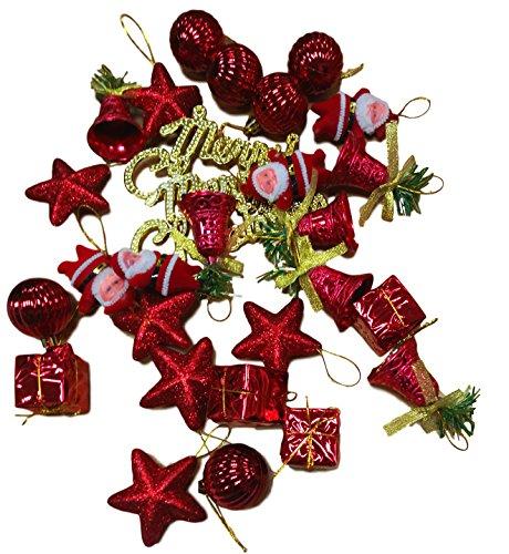 Christmas tree Ornament 28 pieces Red Decoration Set Merry Christmas Santa Plush Doll Star Gift Box Star Santa Ornament