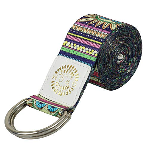 YANSYI Yoga Strap (6ft), Eco-Printed Durable Premium Fabric Exercise Straps w/Adjustable D-Ring Buckle for Stretching, General Fitness, Flexibility and Physical Therapy - Indian, 6ft