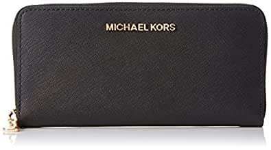 MICHAEL Michael Kors Women's Jet Set Travel Saffiano Continental Wallet, Black