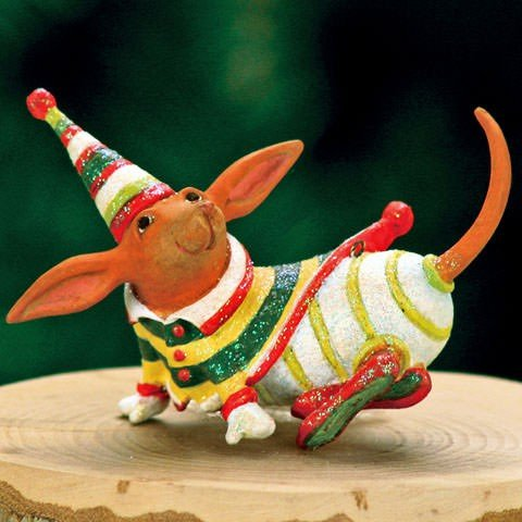 (Patience Brewster Mini Dachshund Christmas Figural Ornament)