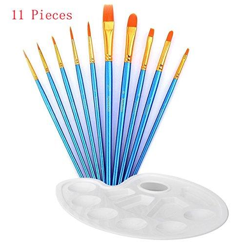 Artist Paint Brushes, DREAMZE 10 pcs Professional Art Paint Brush Set for Watercolor, Acrylics, Oil Painting Supplies Ceramic Terracotta Craft Art Face Painting (Include 1 Paint Palette)