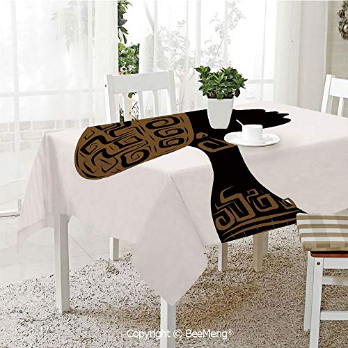 BeeMeng Large dustproof Waterproof Tablecloth,Family Table Decoration,African Woman,Face Profile Silhouette Woman with Headscarf Tribal Art Folk Elements,Brown Black White,70 x 104 ()