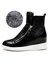 PP FASHION Causal Style Women's Platform Wedge High Top Slip-on Shoes Genuine Leather Ankle Boots