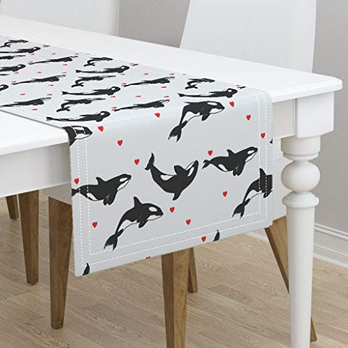Table Runner - Killer Whale Love Summer Nautical Nursery Decor Whales Killer Whale Orca Orcas by Taraput - Cotton Sateen Table Runner 16 x -