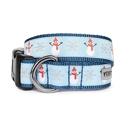 (The Worthy Dog   Snowmen and Snowflake  Adjustable Designer Pet Dog Collar , Blue, XL)