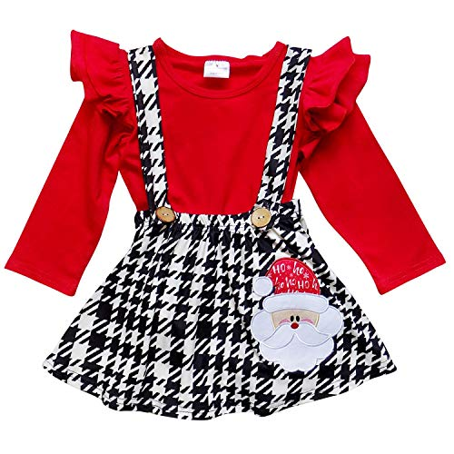 So Sydney Suspender Skirt 2 Piece Outfit, Girls Toddler Fall Winter Christmas Holiday Dress Up Boutique Outfit (M (4T), Houndstooth Santa)