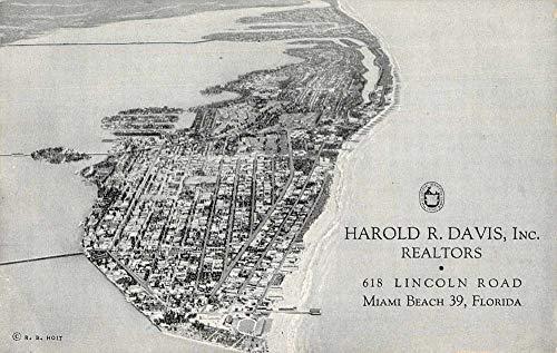 Miami Beach Florida aerial view Harold R Davis Inc advertising vintage pc BB1963