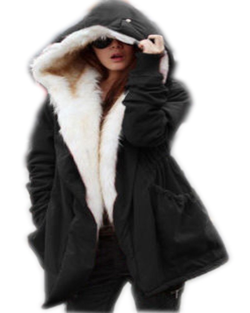 Roiii Women Military Winter Casual Outdoor Coat Hoodie Jacket Long Trench Par  Black XXX-Large / 16