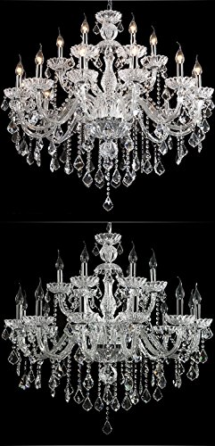 Generic Luxury Pendant Lamp Crystals Chandelier 18 Lights Arms Lamp Color Clear by non-brand (Image #7)
