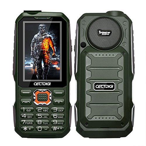 (Cectdigi T19 Rugged 2G GSM Mobile Phone,Shockproof Military-Designed phone with Power Bank Charging Function,15800mAh Battery,2.8inch Display,Three SIM Cards,Flashlight (Green, No TF Card) ...)