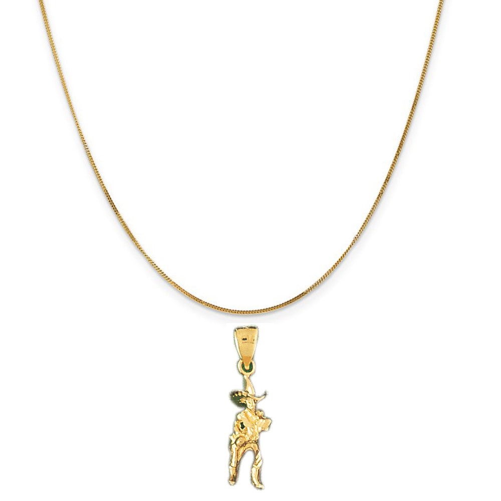 14k Yellow Gold Cowboy Pendant on a 14K Yellow Gold Curb Chain Necklace, 16''