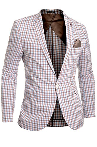 Cipo & Baxx Men's Linen Blazer Jacket Casual Formal Check Elbow Patches Beige