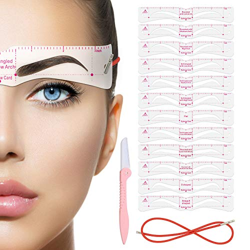 Eyebrow Stencil,Eyebrow Shaper Kit,12 Styles Extremely Elaborate Reusable Eyebrow Template Stencils for A Range Of Face Shapes, 3 Minutes Makeup Tools For Eyebrows