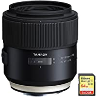 Tamron SP 85mm f1.8 Di VC USD Lens for Canon Full-Frame EF Mount Cameras (F016) with Lexar 64GB Professional 633x SDXC Class 10 UHS-I/U3 Memory Card Up to 95 Mb/s