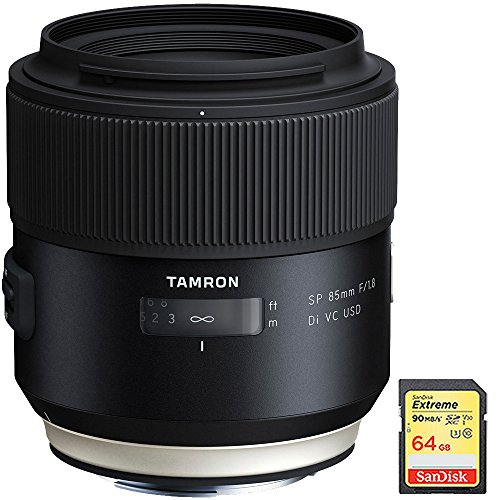 Tamron SP 85mm f1.8 Di VC USD Lens for Canon Full-Frame EF Mount Cameras (F016) with Lexar 64GB Professional 633x SDXC Class 10 UHS-I/U3 Memory Card Up to 95 Mb/s by Tamron