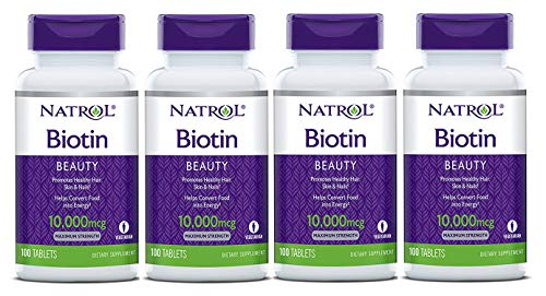 - Natrol Biotin, Maximum Strength, 10,000 mcg Tablets 100 ea (Pack of 4)