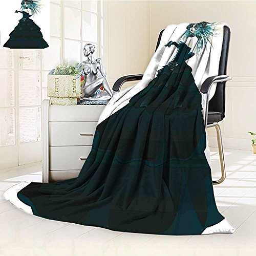YOYI-HOME Warm Microfiber Duplex Printed Blanket Girl with Prom Dress Roses in Hand Gothic Halloween Lady Zombie Vampire Image Green White Anti-Static,2 Ply Thick,Hypoallergenic/W86.5