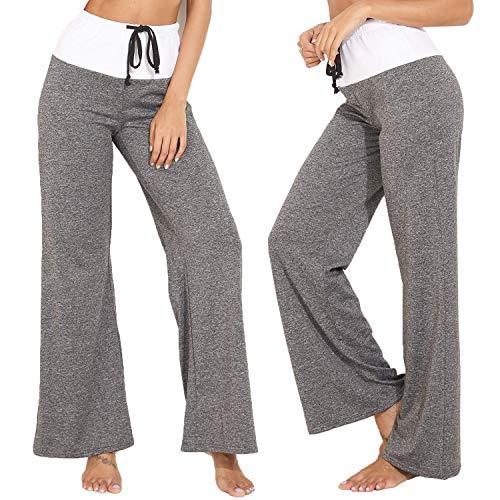 KIWI RATA 2019 Fashion Women's Elastic High Waist Yoga Drawstring Pants Straight-Leg Workout Trousers Loose Fit (Best Wide Leg Trousers 2019)