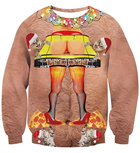 Belovecol Funny Ugly Hairy Christmas Pullover Sweater for Juniors Adult Cute Kitten Pizza Graphic Sweatshirts Medium