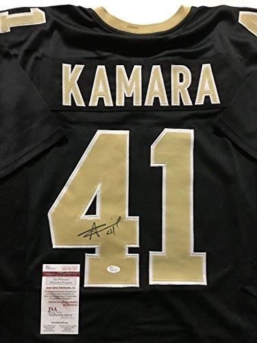 Autographed/Signed Alvin Kamara New Orleans Saints Black Football Jersey JSA (New Orleans Saints Signature Football)