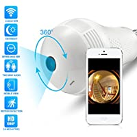 Full HD 1080P LED Bulb Camera 360°Panoramic Wifi Camera Two Way Audio Nightvision Motion Detection 128G SD Card Slot Home Security Camera Baby Monitor Pet Monitor