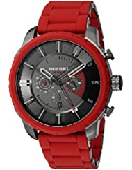 Diesel Mens DZ4384 Stronghold Red Silicone Wrap Watch