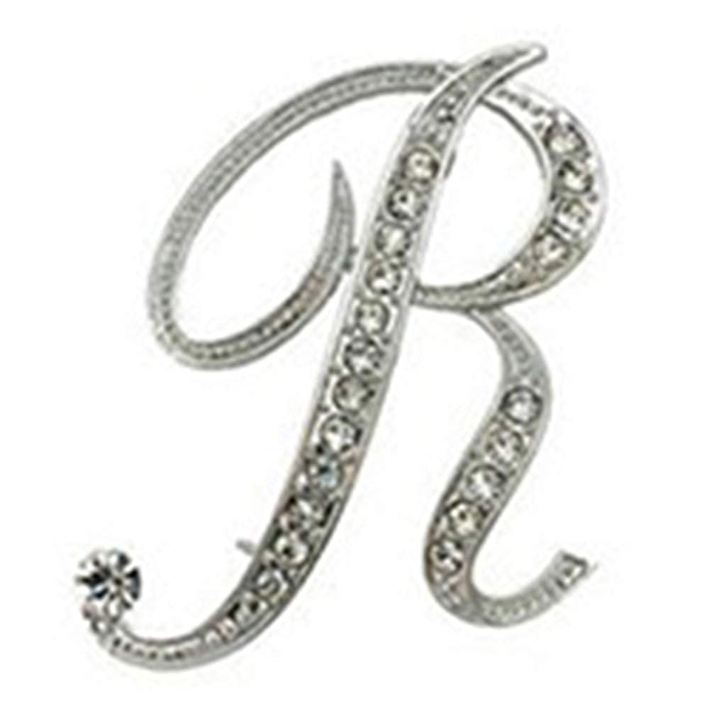 GF.DTR Rhinestone 26 Letters Women Girls Sweater Scarf Suit Charming Female Brooch Pin Fashion Jewelry Banquet Accessories A-S