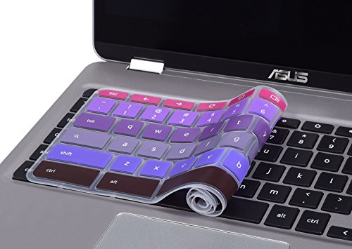 ASUS-Chromebook-Accessories-CASEBUY-Keyboard-Cover-for-ASUS-Chromebook-Flip-C302CA-125-Inch-Chromebook-Gradual-Purple