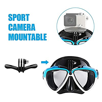 SODIAL Full Dry Diving Mask Diving Snorkel Swimming Goggles Set Men and Women Snorkeling Equipment Goggles Camera