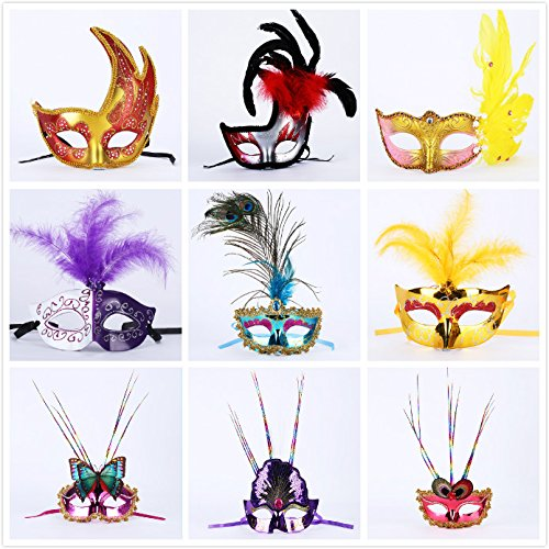 Toner Depot 12 Pack Deluxe Feather Mask Assortment - Mardi Gras Masquerade Party Feather Masks (Assorted)
