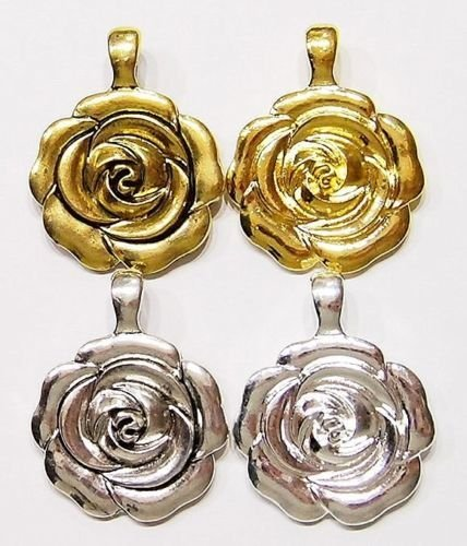 4 Pcs of Victorian Roses in Bloom Enhancer Bail Large Pendants to Wear