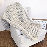 Large Chunky Knit Throw Blanket with Thick Yarn 100% Merino Wool NOT Acrylic Yarn, Perfect for Bed, Chair, Sofa, Handmade
