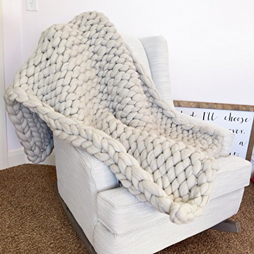 Large Chunky Knit Throw Blanket with Thick Yarn 100% Merino Wool NOT Acrylic Yarn, Perfect for Bed, Chair, Sofa, Handmade by A Vision to Remember