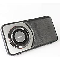 SHABA Ultra Slim Pocket Portable Bluetooth Speaker with Phone Stand, LED Light, TF Card, FM Radio, Speakerphone, Recorder (Chrome Black)