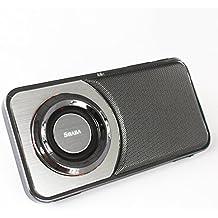 SHABA Ultra Slim Pocket Portable Bluetooth Speaker with Phone Stand, LED Light, TF Card, FM Radio, Speakerphone, Recorder (Chrome Black)