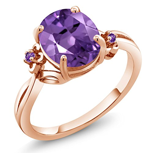 - Gem Stone King 2.24 Ct Oval Purple Amethyst 18K Rose Gold Plated Silver Ring (Size 7)
