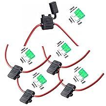 Qiorange 12 Gauge ATC Fuse Holder Box In-Line AWG Wire Copper Blade Standard Plug Socket 12V 30A (5-Pack)