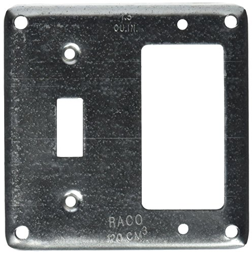 Hubbell-Raco 814 1/2-Inch Raised Square Cover with (1) GFCI & (1) Toggle Switch, 4-Inch