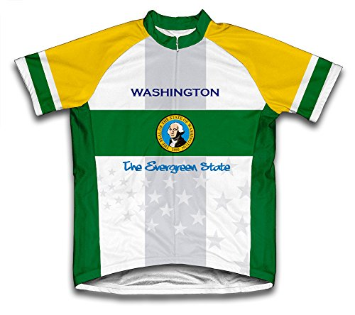 Washington Flag Short Sleeve Cycling Jersey for Youth - Size L
