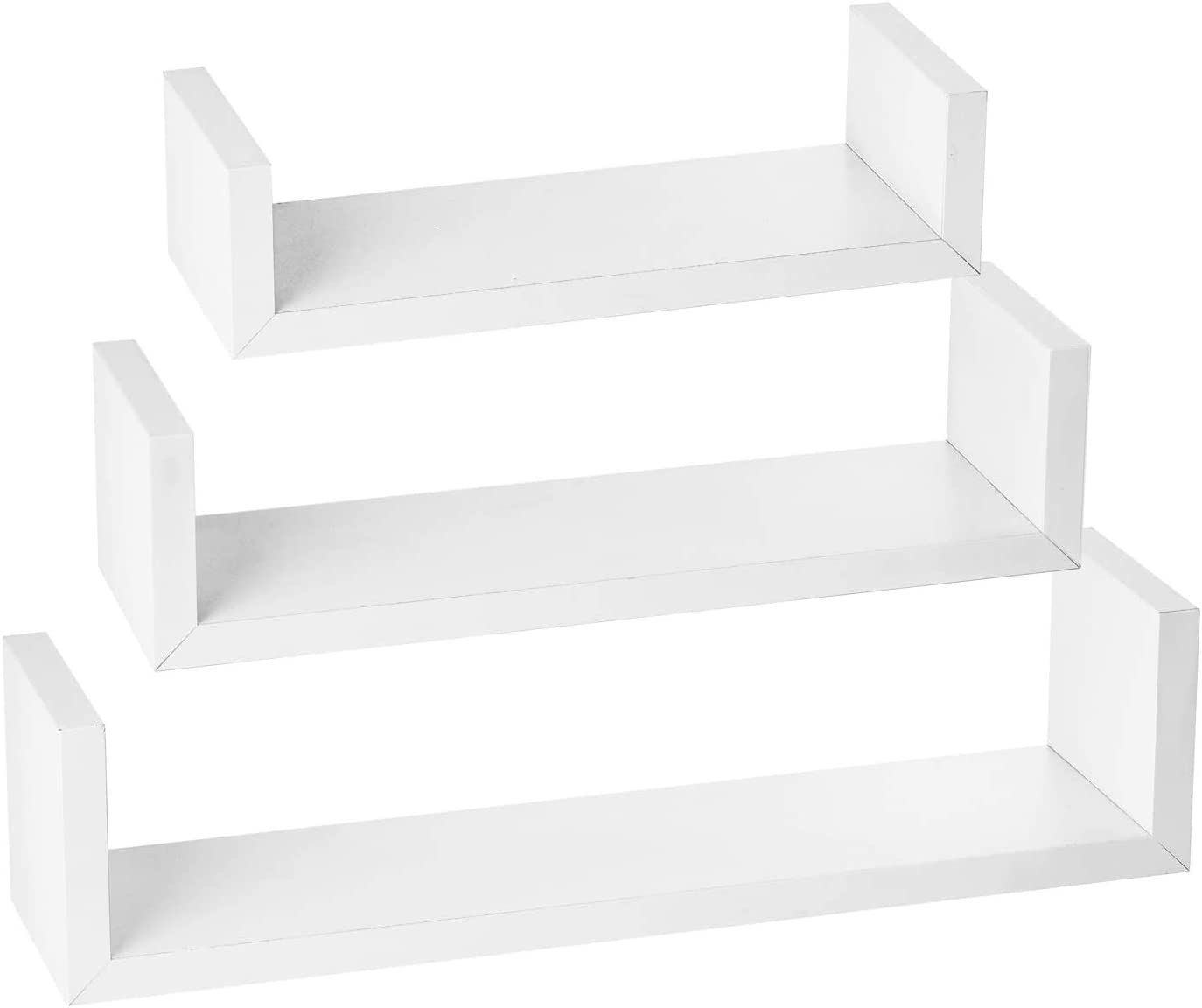 Halter Wall Mount Decorative Floating Shelf, Multipurpose Hanging Storage, Set of 3, Small to Large, White