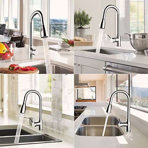 360 Degree Swivel Faucet Modern Stainless Steel Hot&Cold Mixer Faucet,Streamlined handle Kitchen Tap,Fashion high throwing type faucets (parttern 1)