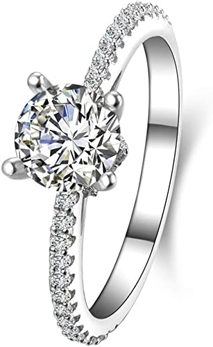 1 Carat Solitaire Ring Sterling Silver Engagement Ring Rhodium Plated