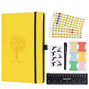 CLEARANCE SALE ! ! ! Bullet Journal - Lemome Dotted Numbered Pages Hardcover A5 Notebook with Pen Holder - Premium Thick Paper + Bonus Gifts in the Back Pocket (Lemon Yellow)