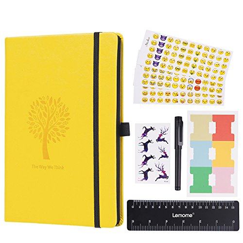 The Bullet Journal - Lemome Dotted Numbered Pages Hardcover A5 Notebook with Pen Holder - Premium Thick Paper + Bonus Gifts (Lemon Yellow)