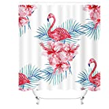 Pink Flamingo Shower Curtain Hooks Cheerhunting Pink Flamingo Shower Curtain Set with Hooks for Bathroom, 72
