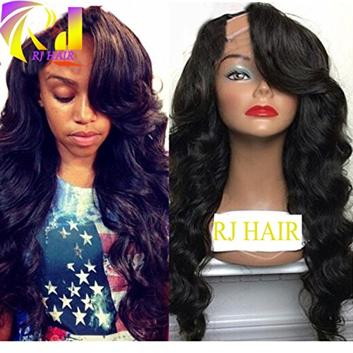 Virgin Brazilian U Part Wig Natural Wave Top Quality 10A U Part Human Hair Wig with Side Bangs 130%Density (18inch, Natural Color) by RJ HAIR